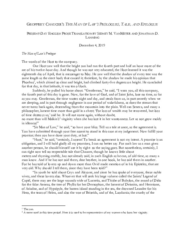 The Man of Law's Prologue and Tale PDE Translation