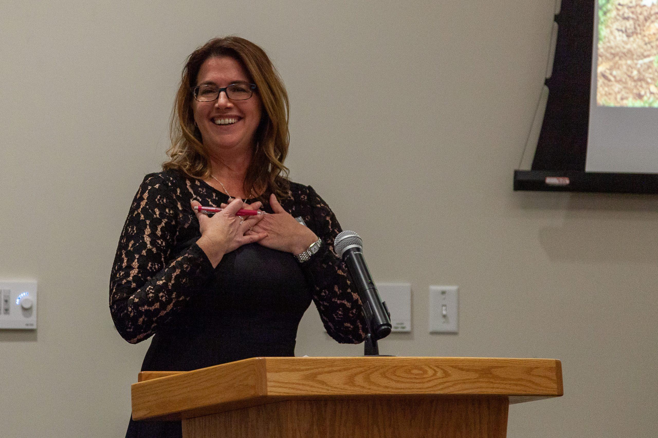 Jill at the podium.