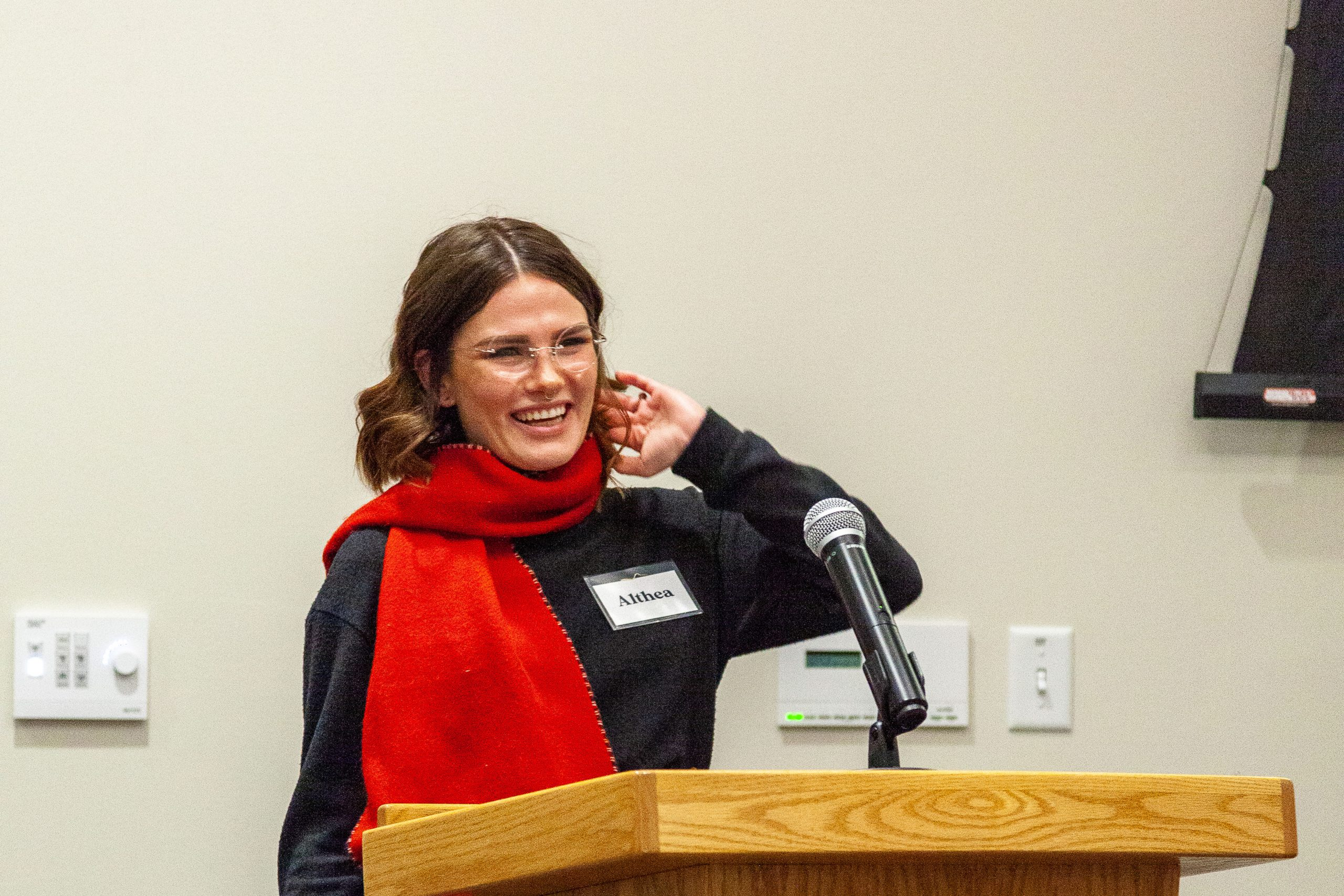 Althea at the podium.